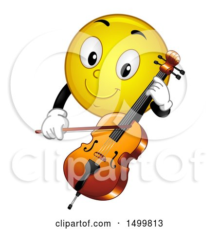 Clipart of a Smiley Emoticon Emoji Playing a Cello - Royalty Free Vector Illustration by BNP Design Studio