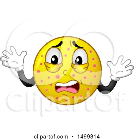 Clipart of a Smiley Emoticon Emoji Sick with the Chicken Pox - Royalty Free Vector Illustration by BNP Design Studio