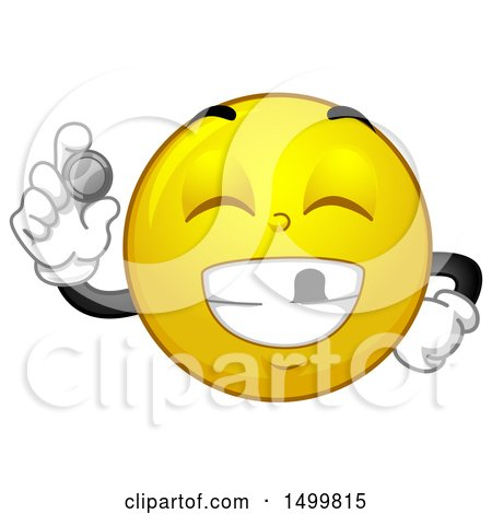 Clipart of a Smiley Emoticon Emoji Smiling with a Missing Tooth and Showing Tooth Fairy Money - Royalty Free Vector Illustration by BNP Design Studio