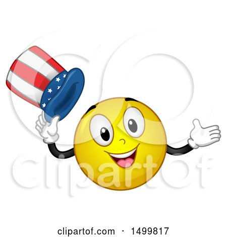 Clipart of a Smiley Emoticon Emoji Tipping an American Top Hat - Royalty Free Vector Illustration by BNP Design Studio