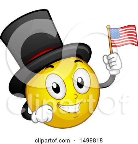Clipart of a Smiley Emoticon Emoji Wearing a Top Hat and Holding an American Flag - Royalty Free Vector Illustration by BNP Design Studio
