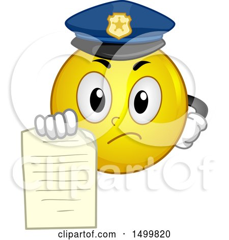 Clipart of a Smiley Emoticon Emoji Police Officer Holding out a Ticket - Royalty Free Vector Illustration by BNP Design Studio