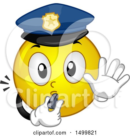 Clipart of a Smiley Emoticon Emoji Police Officer Blowing a Whistle - Royalty Free Vector Illustration by BNP Design Studio