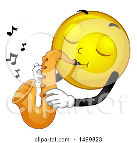 Clipart of a Smiley Emoticon Emoji Musician Playing a Saxophone - Royalty Free Vector Illustration by BNP Design Studio