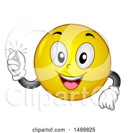 Clipart of a Smiley Emoticon Emoji Snapping His Fingers - Royalty Free Vector Illustration by BNP Design Studio