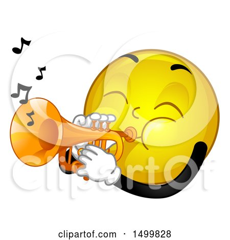 Clipart of a Smiley Emoticon Emoji Playing a Trumpet - Royalty Free Vector Illustration by BNP Design Studio