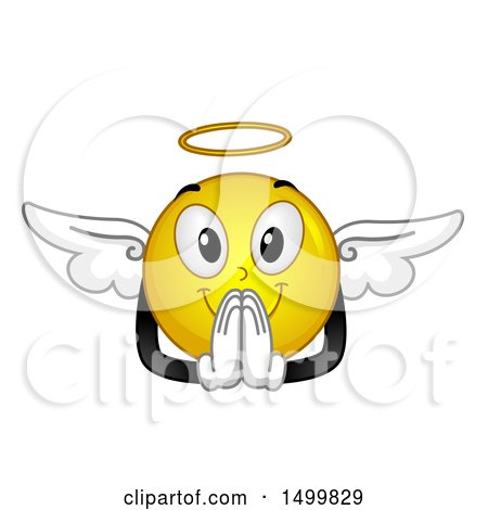 Clipart of a Smiley Emoticon Emoji Angel Praying - Royalty Free Vector Illustration by BNP Design Studio