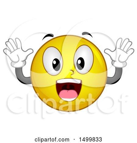 Clipart of a Smiley Emoticon Emoji Acting Surprised - Royalty Free Vector Illustration by BNP Design Studio