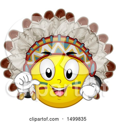 Clipart of a Smiley Emoticon Emoji Native American Chief - Royalty Free Vector Illustration by BNP Design Studio