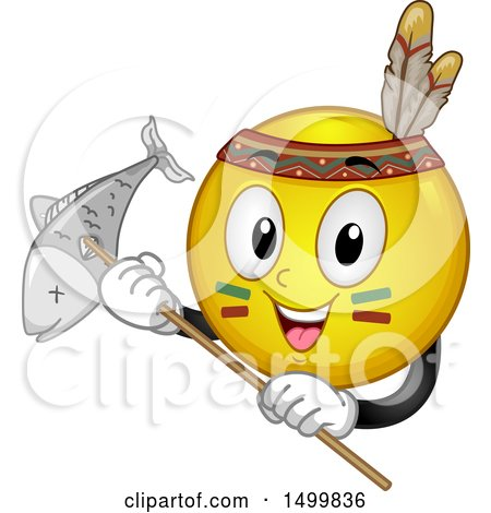 Clipart of a Smiley Emoticon Emoji Native American Holding a Fish Caught with a Spear - Royalty Free Vector Illustration by BNP Design Studio
