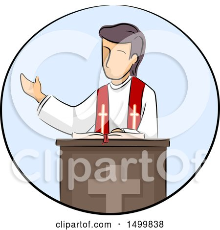 Clipart of a Sketched Priest at a Podium - Royalty Free Vector Illustration by BNP Design Studio