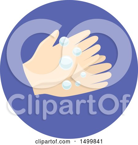 Clipart of a Pair of Hands Washing with Bubbles - Royalty Free Vector Illustration by BNP Design Studio