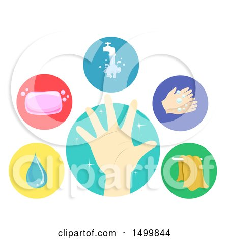 Clipart of Clean Hand, Water, Soap, Faucet, Hand Washing and Towel Icons - Royalty Free Vector Illustration by BNP Design Studio