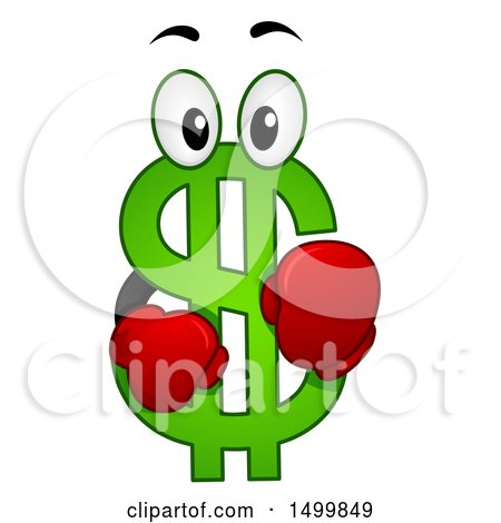 Clipart of a USD Dollar Currency Symbol Mascot - Royalty Free Vector Illustration by BNP Design Studio