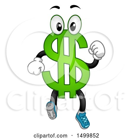 Clipart of a USD Dollar Currency Symbol Mascot Running - Royalty Free Vector Illustration by BNP Design Studio