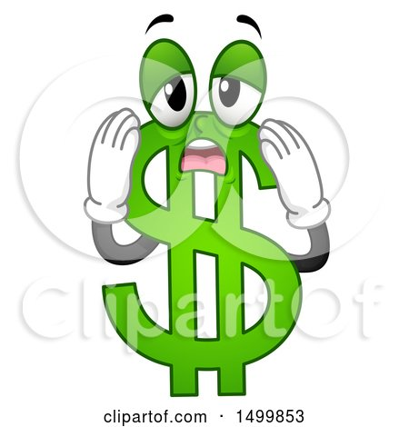 Clipart of a Worried and Stressed USD Dollar Currency Symbol Mascot - Royalty Free Vector Illustration by BNP Design Studio