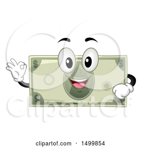 Clipart of a Dollar Bill Mascot Character Gesting Perfect or Ok - Royalty Free Vector Illustration by BNP Design Studio