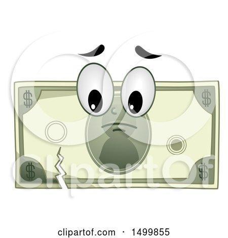 Clipart of a Sad Torn Dollar Bill Mascot Character - Royalty Free Vector Illustration by BNP Design Studio