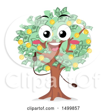 Clipart of a Money Tree Mascot Character - Royalty Free Vector Illustration by BNP Design Studio