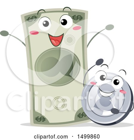 Clipart of a Happy Coin and Dollar Bill - Royalty Free Vector Illustration by BNP Design Studio