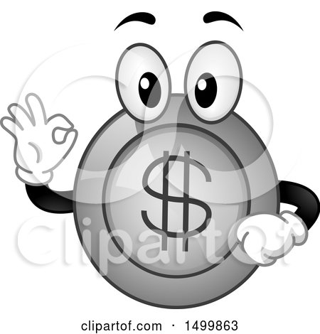 Clipart of a Happy Coin Mascot Gesturing Ok - Royalty Free Vector Illustration by BNP Design Studio