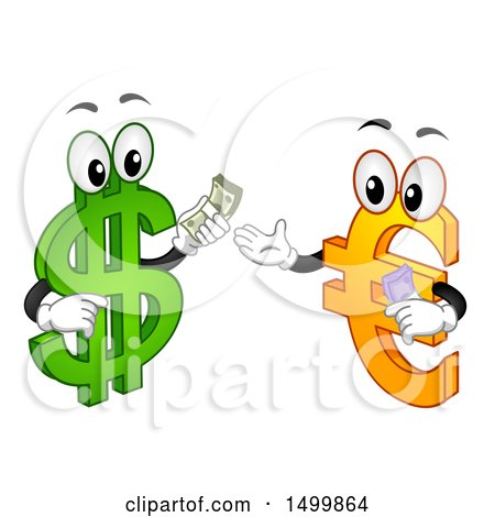Clipart of a USD Dollar Currency Symbol Mascot Exchanging Cash with a Euro Character - Royalty Free Vector Illustration by BNP Design Studio