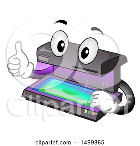 Clipart of a Currency Detector Validator Mascot Giving a Thumb up - Royalty Free Vector Illustration by BNP Design Studio