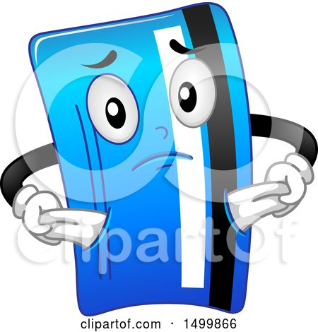 Clipart of a Credit Card Mascot Character with Empty Pockets - Royalty Free Vector Illustration by BNP Design Studio