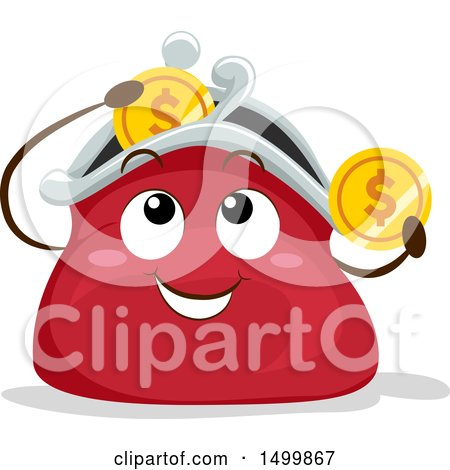 Clipart of a Happy Coin Purse Mascot Depositing Coins - Royalty Free Vector Illustration by BNP Design Studio
