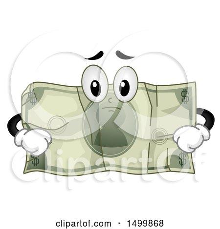 Clipart of a Sad Crumpled Dollar Bill Mascot - Royalty Free Vector Illustration by BNP Design Studio