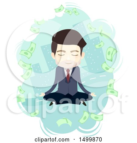 Clipart of a Business Man Meditating and Thinking About Money in a City - Royalty Free Vector Illustration by BNP Design Studio