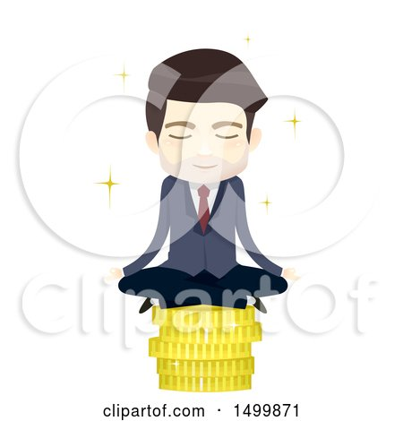 Clipart of a Business Man Meditating on a Stack of Gold Coins - Royalty Free Vector Illustration by BNP Design Studio