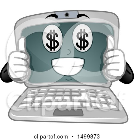 Clipart of a Laptop Computer Mascot Character with Money Eyes, Giving Two Thumbs up - Royalty Free Vector Illustration by BNP Design Studio