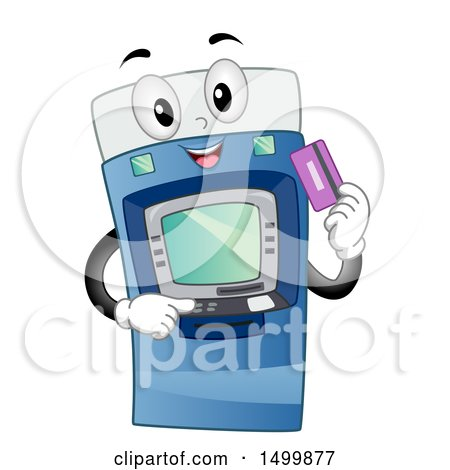 Clipart of a Happy ATM Machine Character Holding a Debit Card - Royalty Free Vector Illustration by BNP Design Studio
