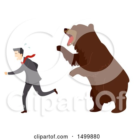 Clipart of a Businessman Being Chased by a Bear, Stock Market Concept - Royalty Free Vector Illustration by BNP Design Studio