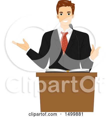 Clipart of a Male Pastor Preaching at a Lectern - Royalty Free Vector Illustration by BNP Design Studio