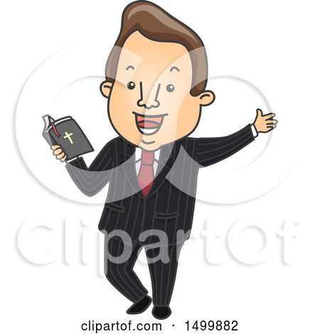 Clipart of a Male Preacher Holding a Bible - Royalty Free Vector Illustration by BNP Design Studio