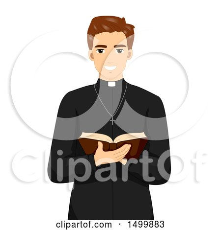 Clipart of a Smiling Priest Holding an Open Bible - Royalty Free Vector Illustration by BNP Design Studio