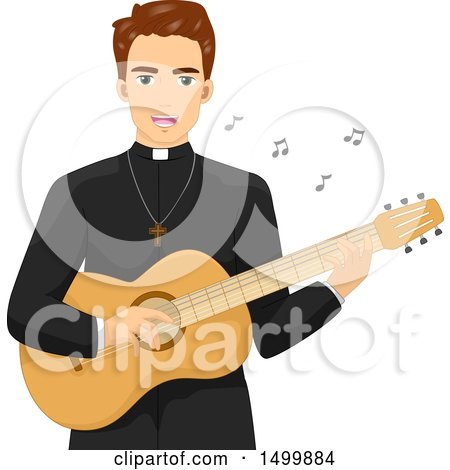 Clipart of a Priest Playing a Guitar and Singing - Royalty Free Vector Illustration by BNP Design Studio
