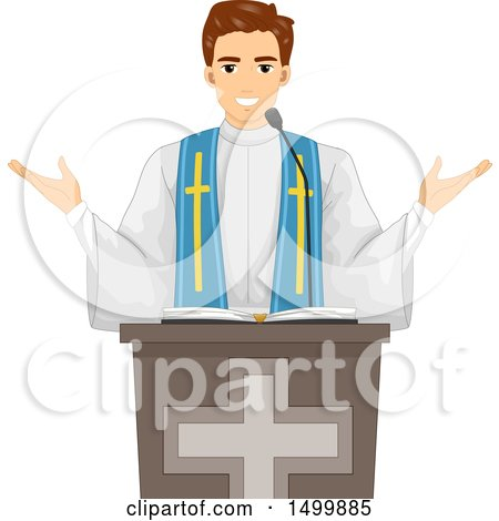 Clipart of a Male Priest Speaking During Mass - Royalty Free Vector Illustration by BNP Design Studio