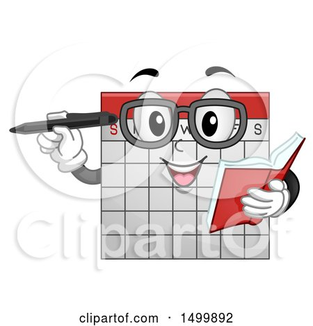 Clipart of a Calendar Mascot Holding a Book and Pen - Royalty Free Vector Illustration by BNP Design Studio