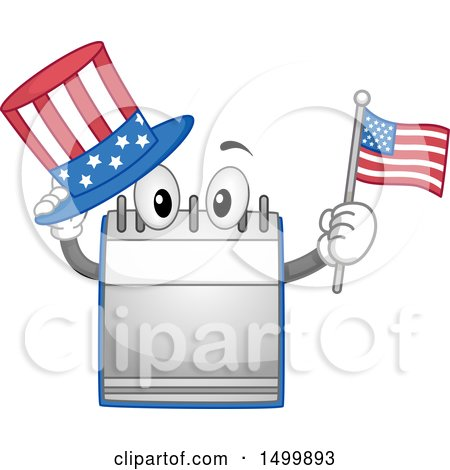 Clipart of a Desk Calendar Mascot Holding an American Top Hat and Flag - Royalty Free Vector Illustration by BNP Design Studio