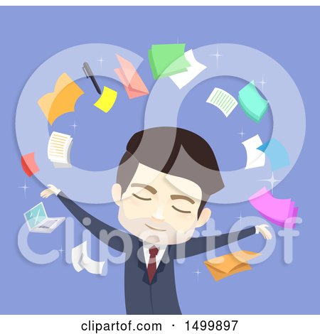 Clipart of a Busines Man Surrounded by Icons - Royalty Free Vector Illustration by BNP Design Studio