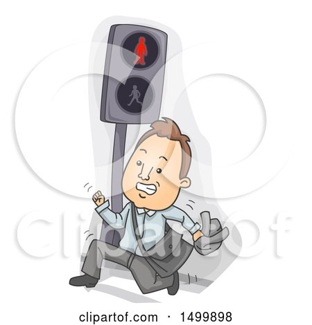 Clipart of a Business Man Running and Jaywalking on a Crosswalk - Royalty Free Vector Illustration by BNP Design Studio
