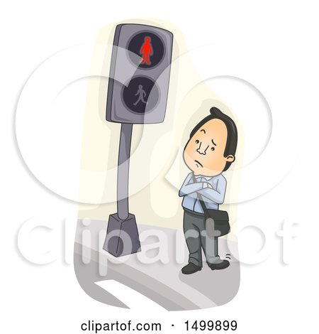 Clipart of a Business Man Waiting Impatiently at a Crosswalk - Royalty Free Vector Illustration by BNP Design Studio