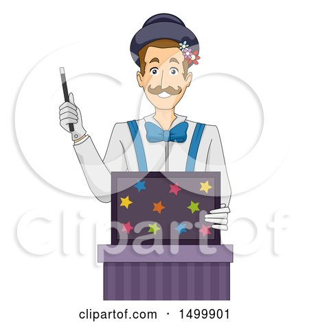 Clipart of a Magician Holding a Magic Wand and a Box - Royalty Free Vector Illustration by BNP Design Studio