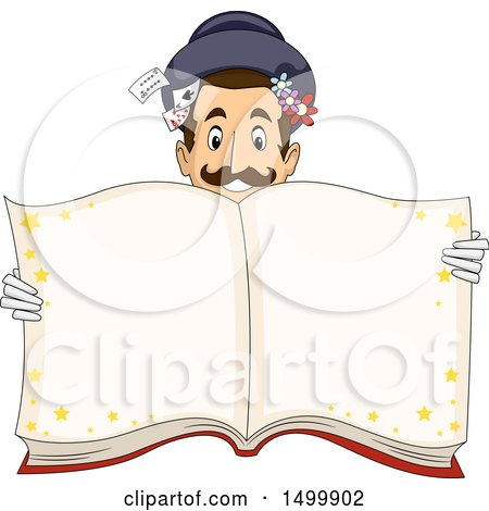 Clipart of a Magician Holding up an Open Magic Book - Royalty Free Vector Illustration by BNP Design Studio