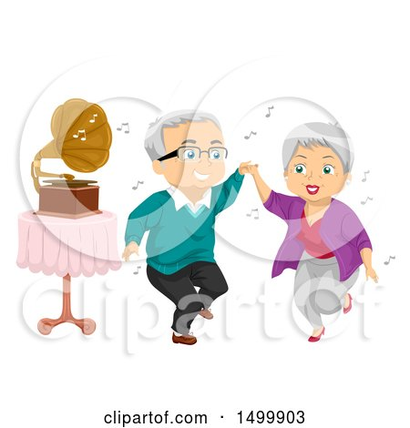 Clipart of a Senior Couple Dancing by a Gramophone - Royalty Free Vector Illustration by BNP Design Studio