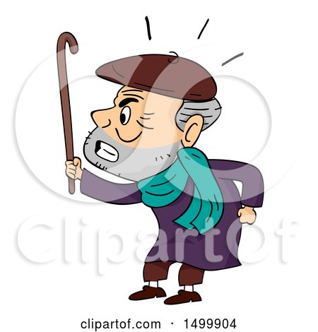 Clipart of a Grumpy Old Man Waving His Cane - Royalty Free Vector Illustration by BNP Design Studio