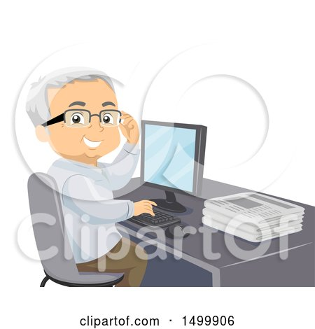 Clipart of a Senior Man Smiling and Using a Computer, with a Stack of Newspapers on His Desk - Royalty Free Vector Illustration by BNP Design Studio
